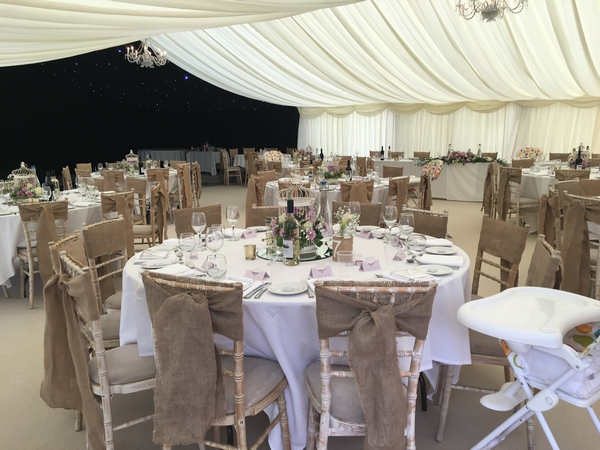 Interior of wedding marquee, Pershore, Worcestershire