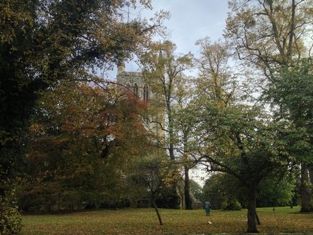 Pershore Abbey in autumn